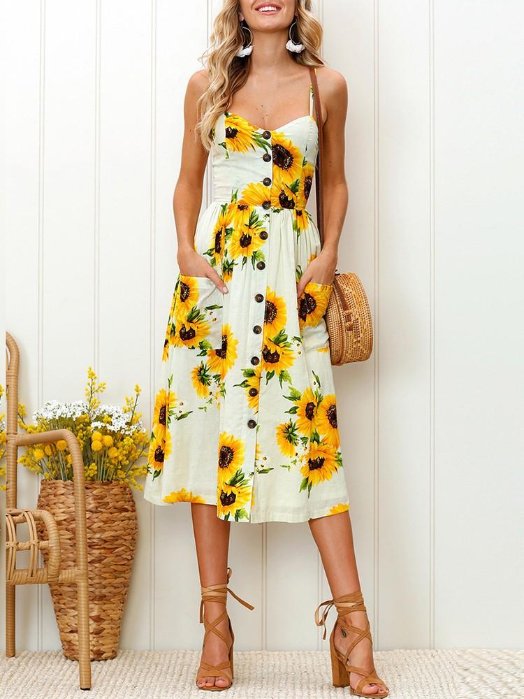 boutiquefeel / Sunflower Pattern Sweet Midi Dress