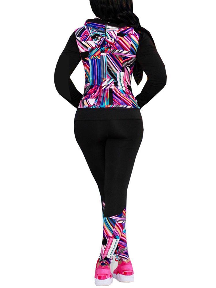 boutiquefeel / Geo Print Long Sleeve Jacket & Skinny Pants Sets