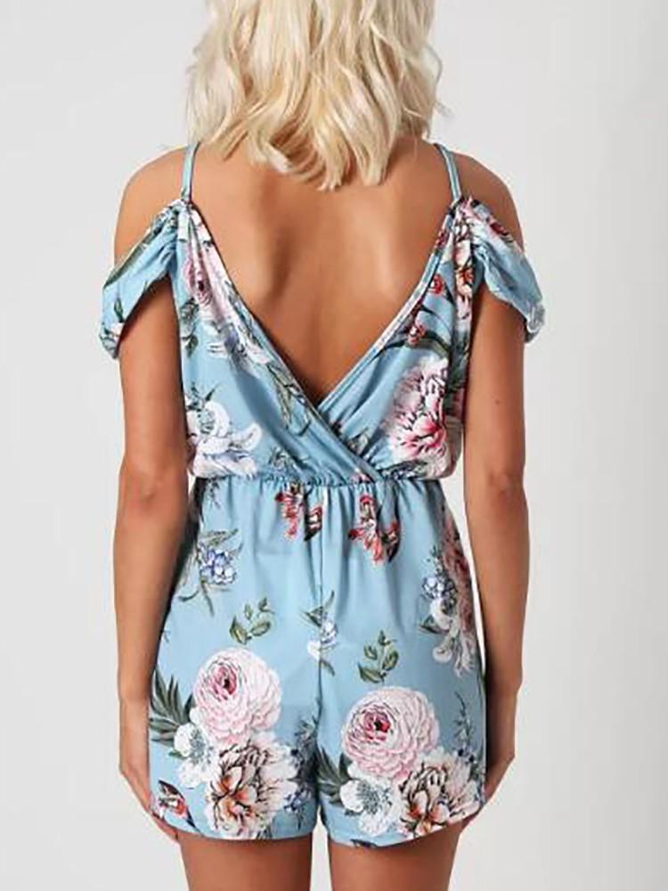 boutiquefeel / Floral Print Double V Cold Shoulder Romper