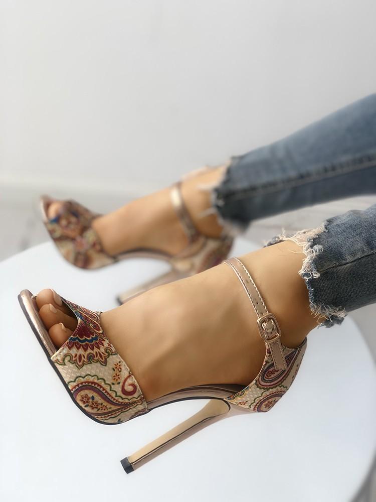 43132843fc4 Tribal Print Peep Toe Thin Heeled Sandals