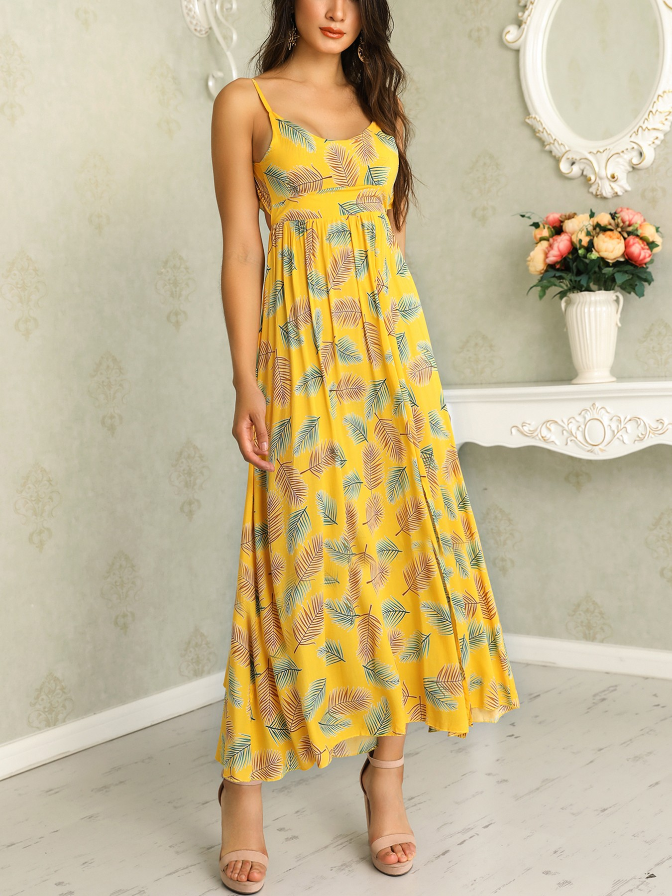 boutiquefeel / Palm Print Knotted Open Back Casual Dress