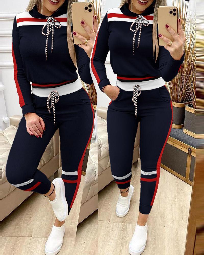 Striped Colorblock Hooded Top & Drawstring Pants Set thumbnail