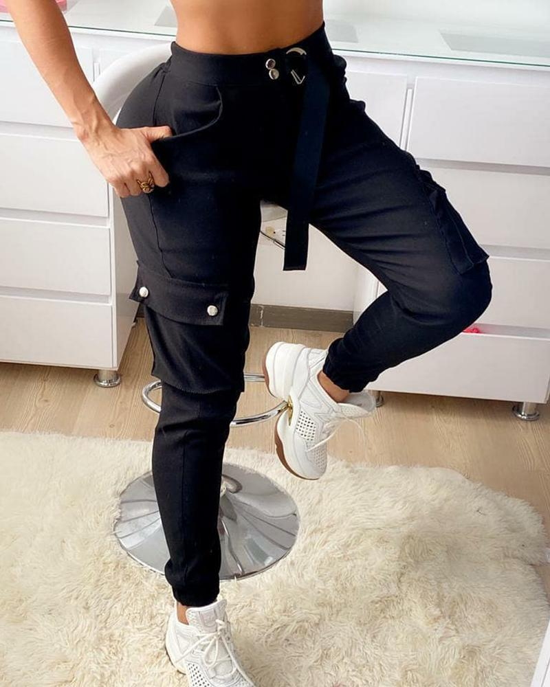 O-Ring Tape Solid Pocket Design Cargo Pants thumbnail