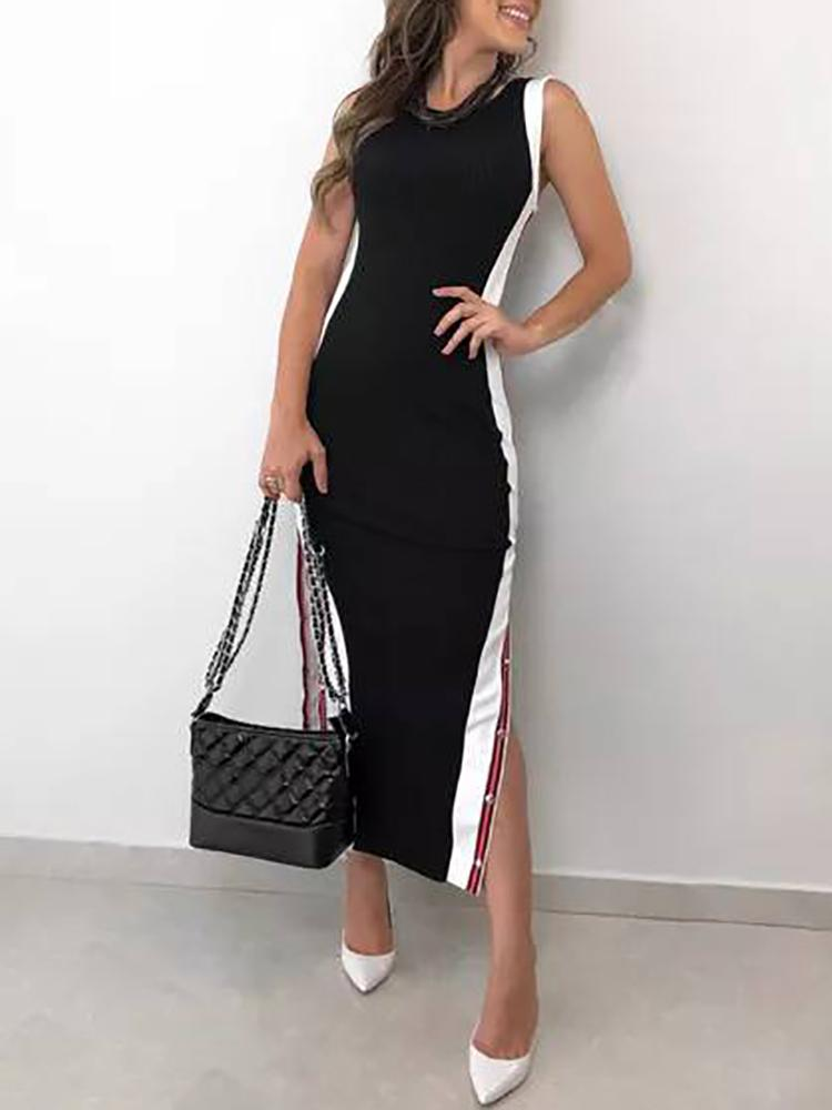 boutiquefeel / Contrast Color Button Split Side Bodycon Dress