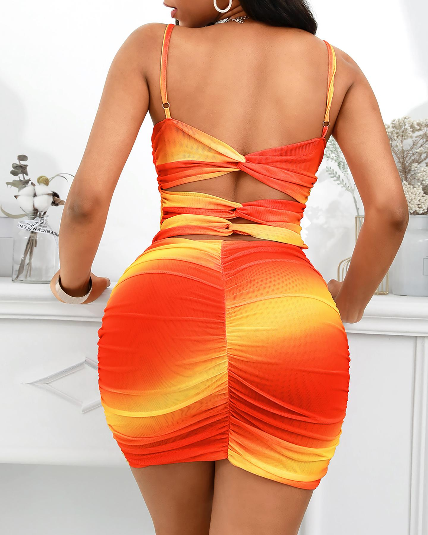 Gradient Color Ruched Cutout Back Bodycon Dress thumbnail