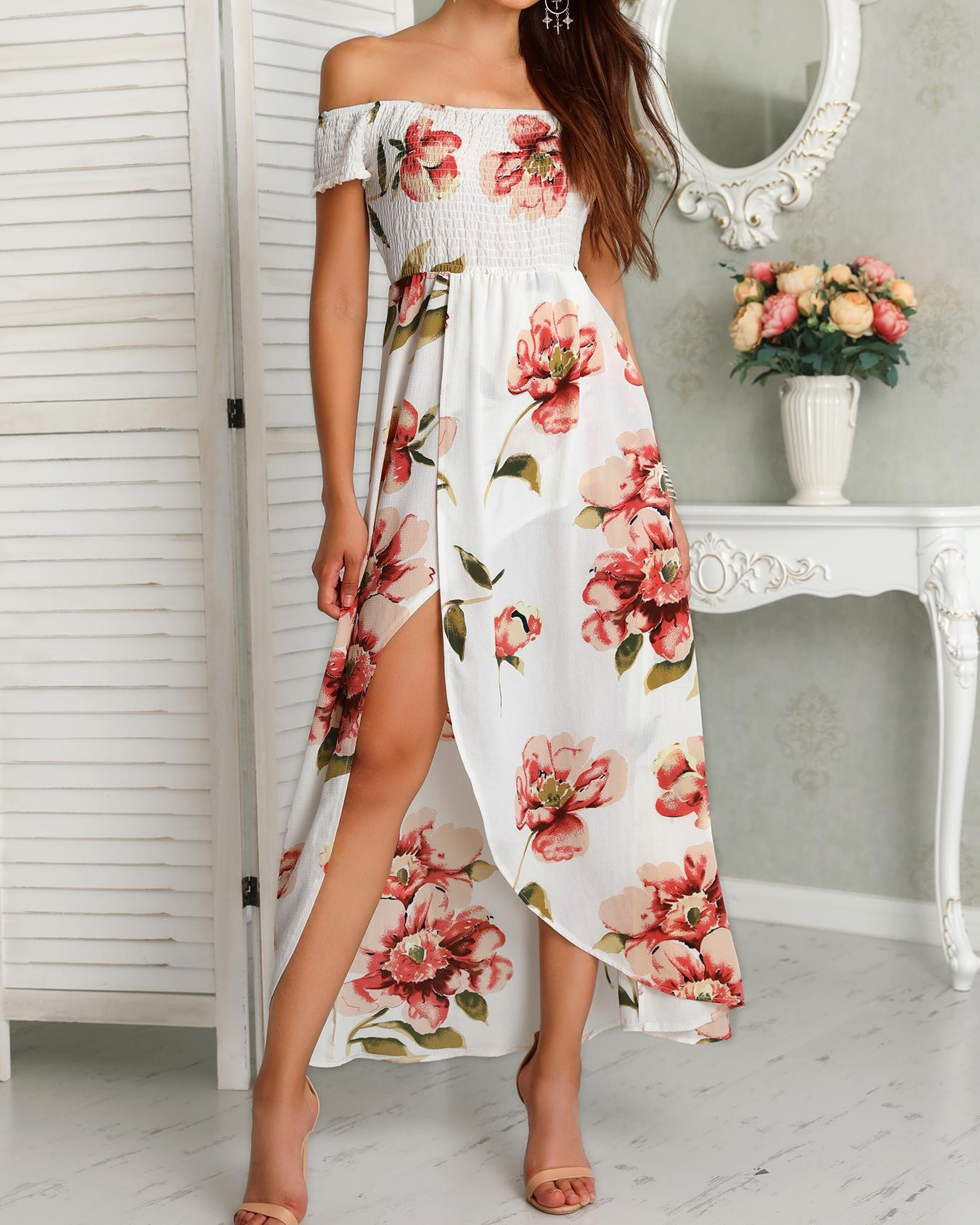 43c1527beaa Floral Print Shirring Off Shoulder Slit Maxi Dress Online. Discover hottest  trend fashion at chicme.com