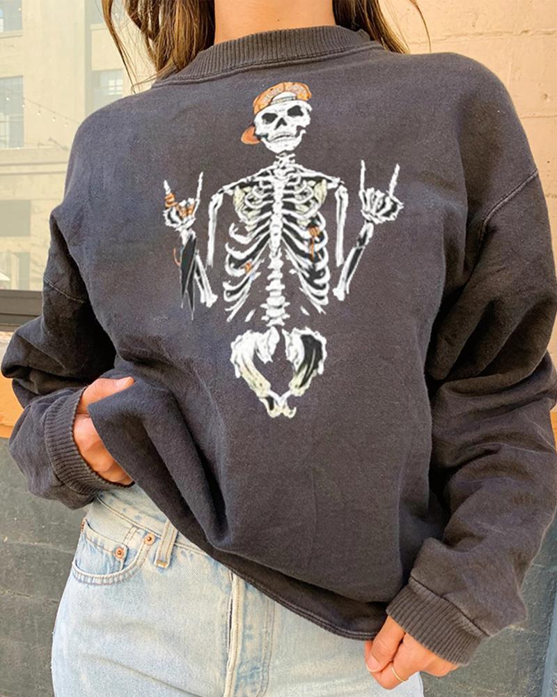 Halloween Skeleton Print Casual Sweatshirt thumbnail