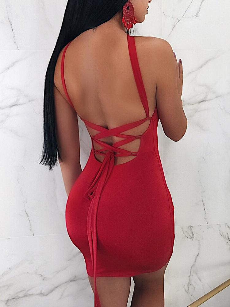boutiquefeel / Halter Strappy Back Red Mini Party Dress