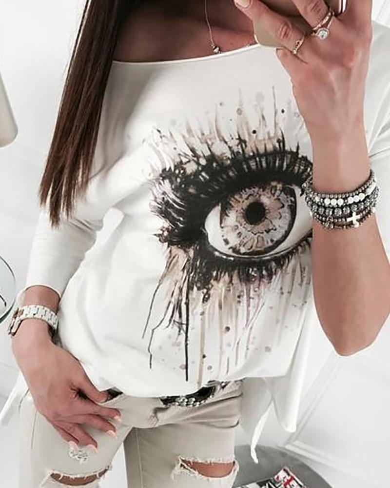 Long Sleeve Eye Pattern Casual Top thumbnail