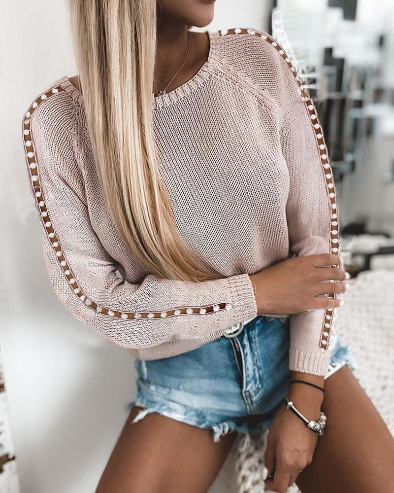 Beaded Hollow Out Long Sleeve Sweaters thumbnail