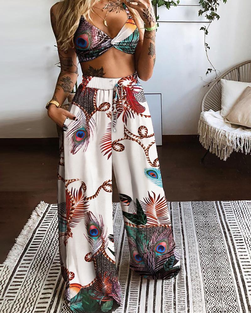 Twisted Front Peacock Print Crop Top & Drawstring Wide Leg Pants Set