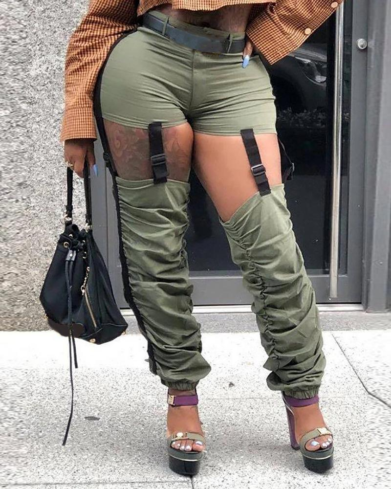 Ruched Cutout Buckled Cargo Pants thumbnail