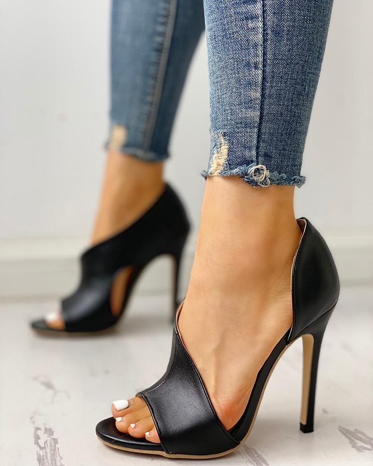 cb98c9faa00 PU Cutout Peep Toe Thin Heeled Sandals Online. Discover hottest trend  fashion at chicme.com
