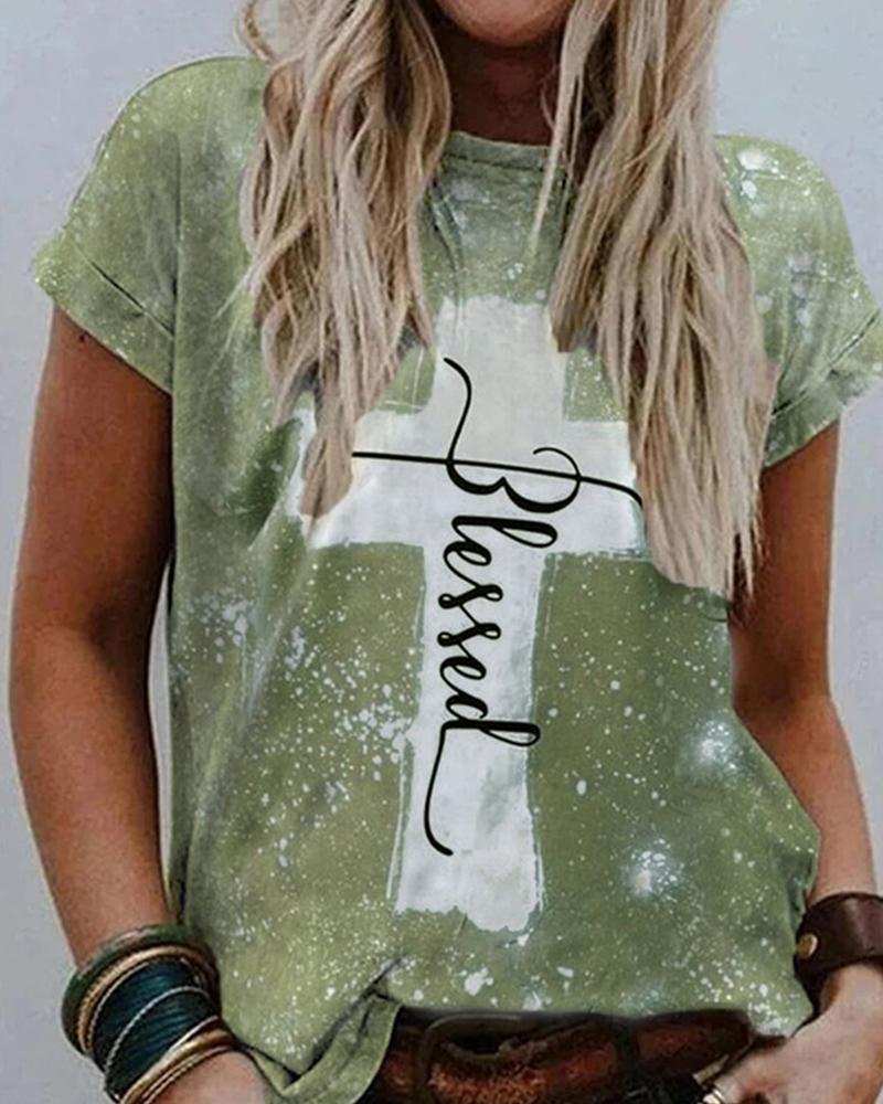 Cross Patterns & Letter Print Short Sleeve Loose T-shirts, Green