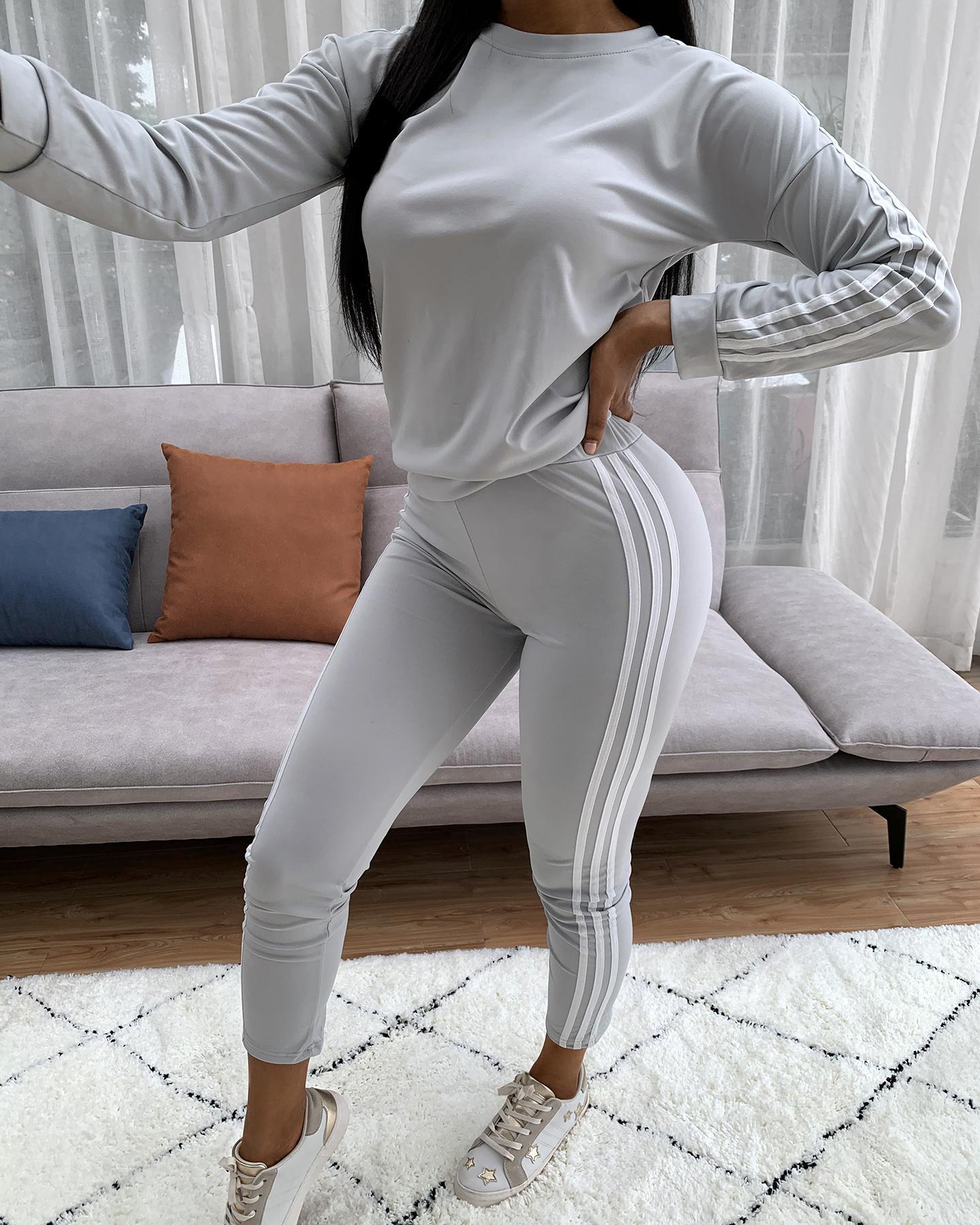 Striped Tape Long Sleeve Top &  Pants Set thumbnail