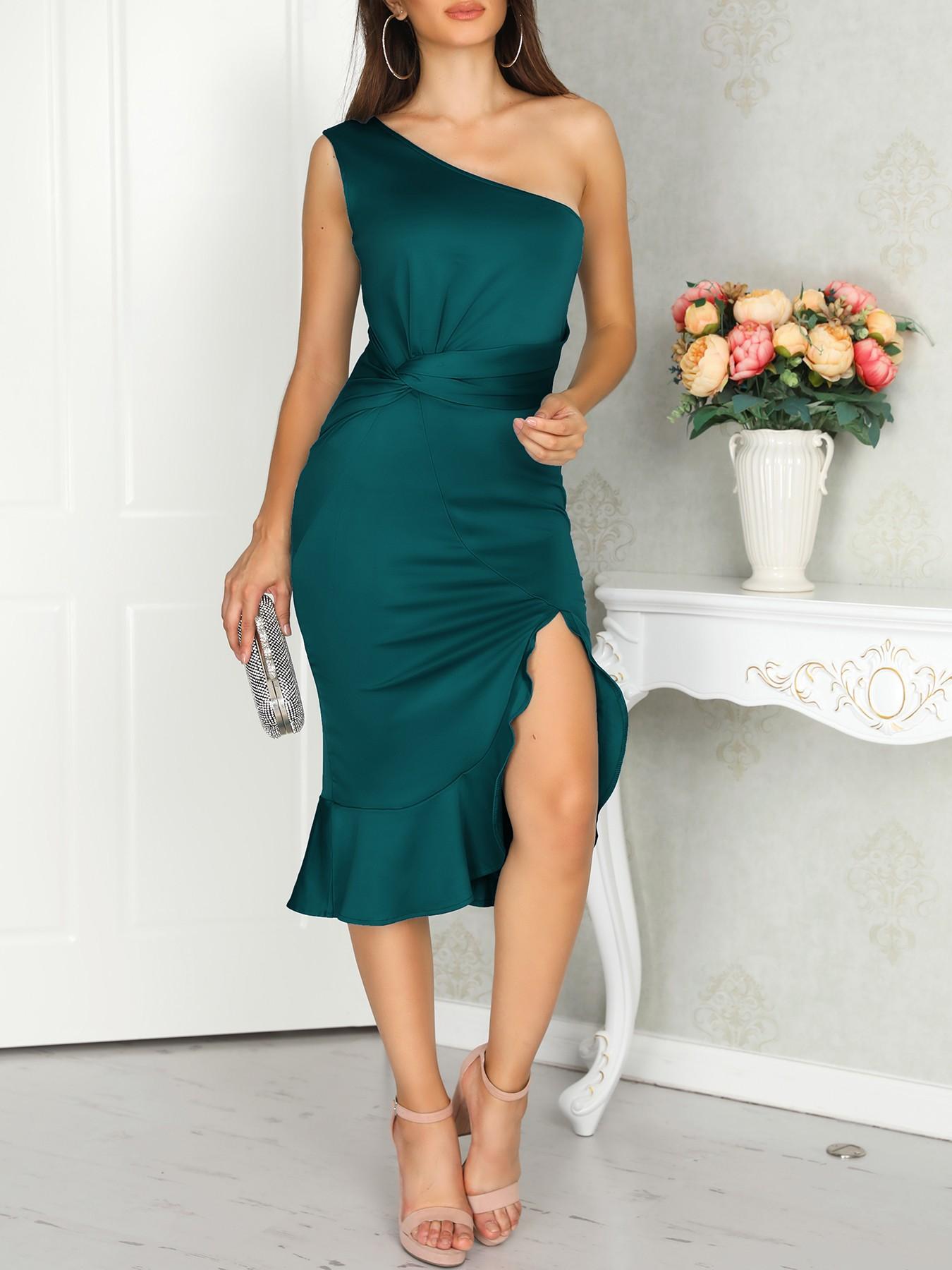 boutiquefeel / One Shoulder Scrunch Irregular Ruffles Hem Dress