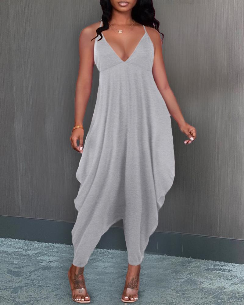 Solid Color Sling Loose Jumpsuits, Gray