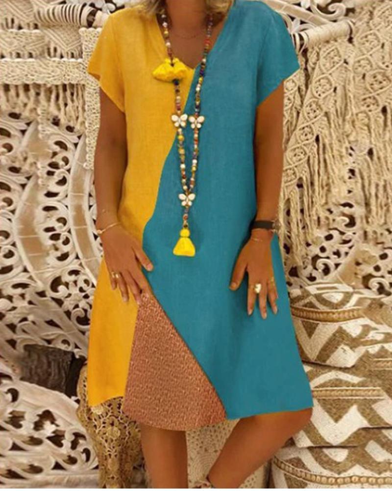 V Neck Multicolor Block Midi dress thumbnail