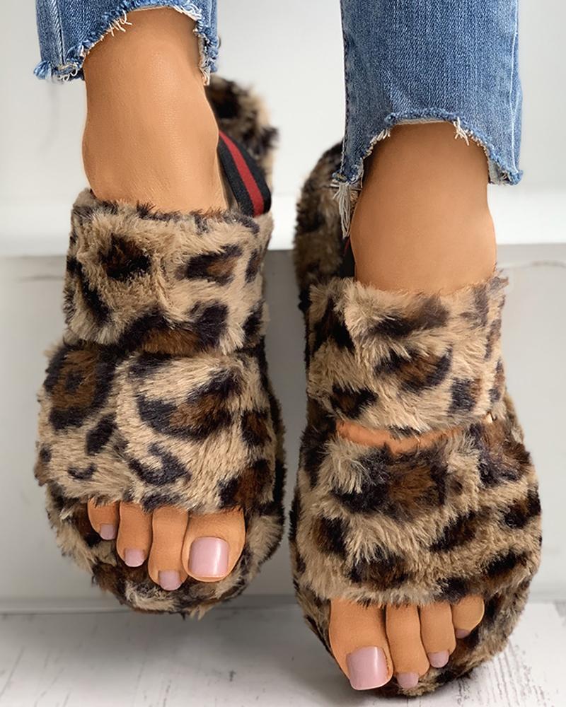 Solid / Cheetah / Colorblock Slingback Fluffy Flat Slipper thumbnail