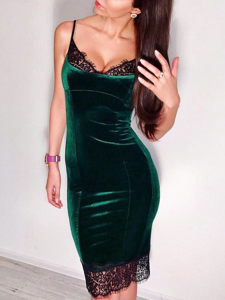 boutiquefeel / Eyelash Lace Insert Velvet Spaghetti Strap Dress