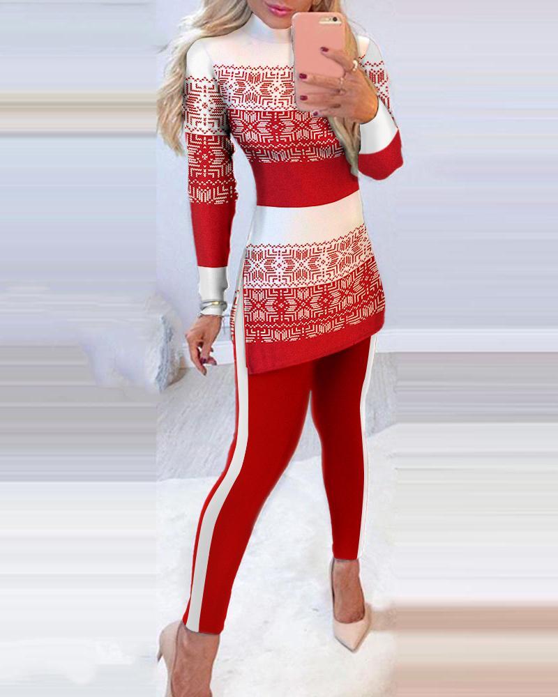 Christmas Side Slit Long Sleeve Top & Pants Set
