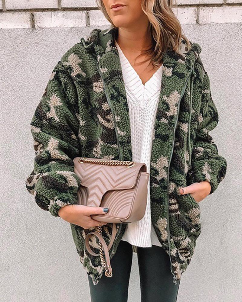 Camouflage Fluffy Hooded Teddy Coat