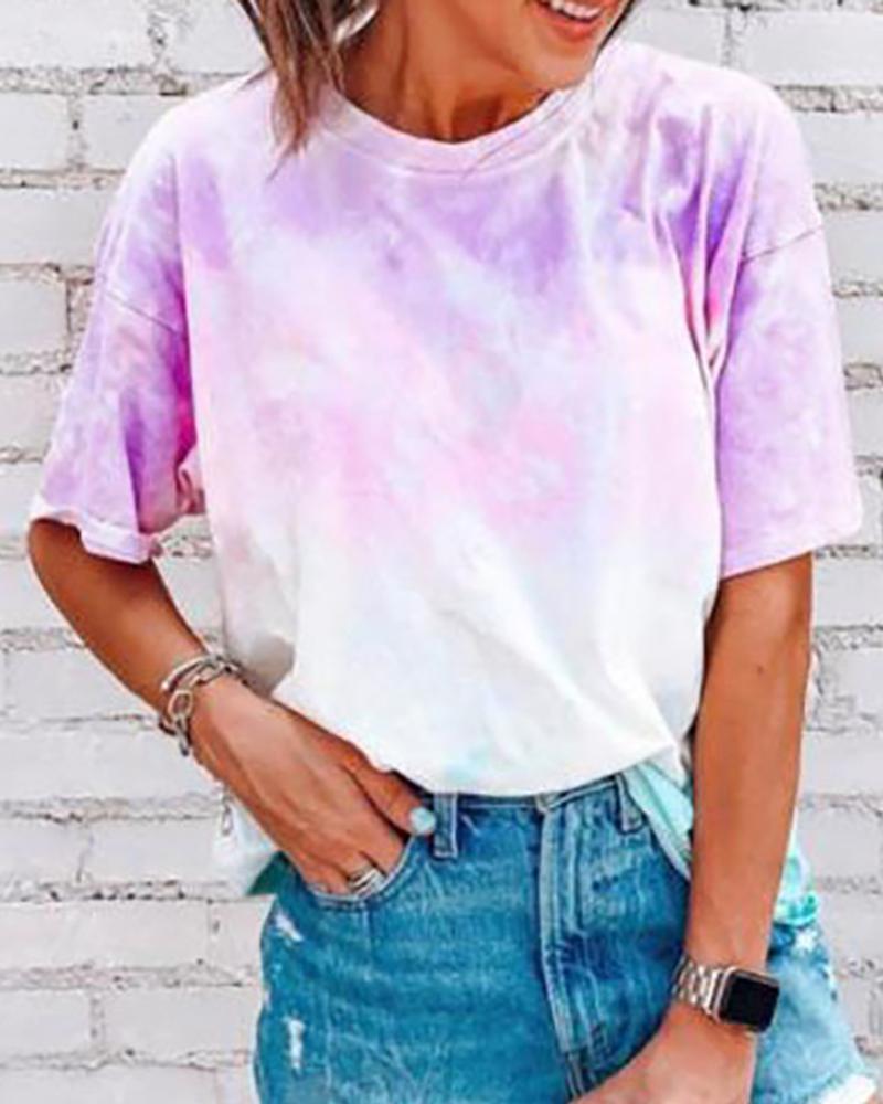 Tie Dye Print Short Sleeve Casual T-shirt thumbnail