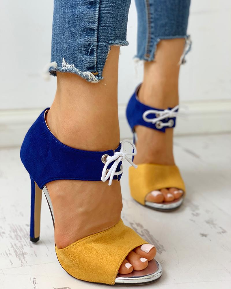 Peep Toe Colorblock Eyelet Lace-Up Thin Heels