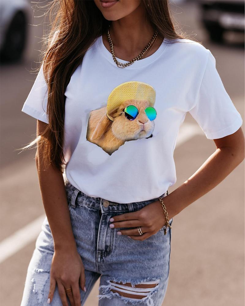 Easter Glasses Rabbit Print Short Sleeve Loose T-shirts
