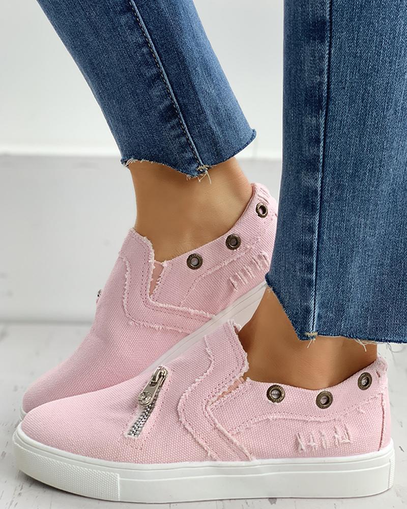 Eyelet Zipper Design Slip On Sneakers thumbnail