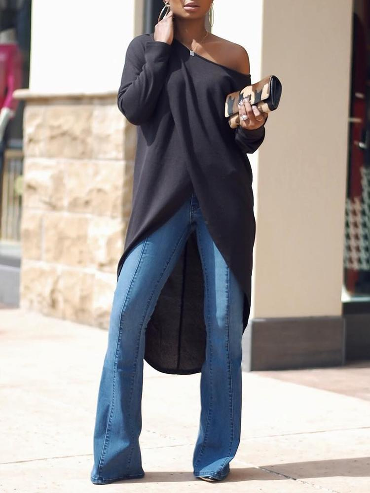 Stylish Irregular Solid Color Women's Blouse