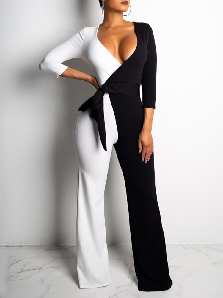 Two Tone Tied Waist Wrap Jumpsuits