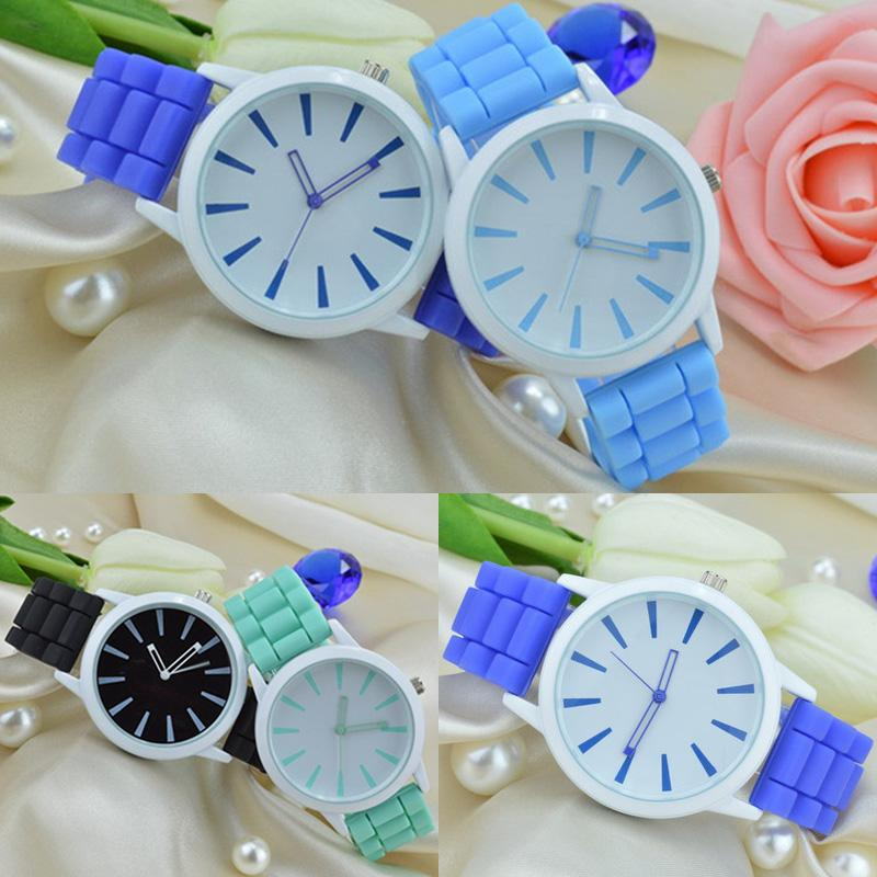Geneva ice cream candy color silicone band Simple hollow pointer quartz watch thumbnail