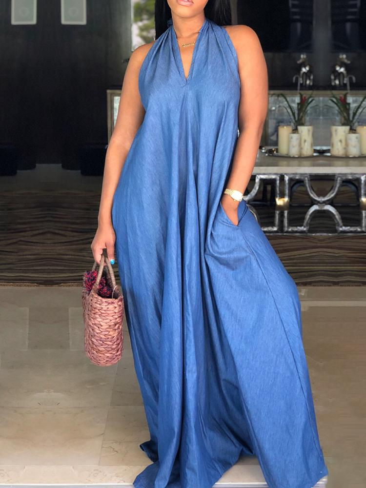 aa2d9a8def6 Oversized Halter Pocket Loose Denim Maxi Dress Online. Discover ...