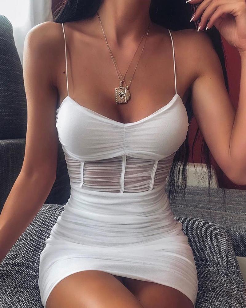 Durchsichtiges Mesh-Cami-Kleid