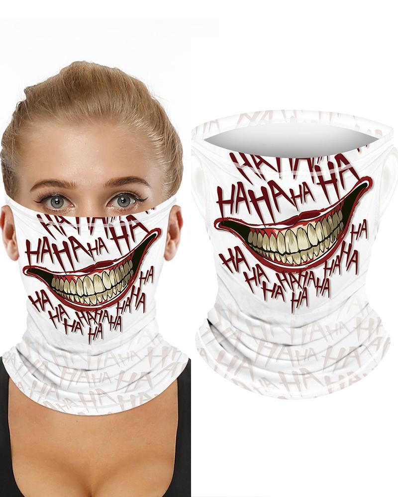 Mouth Letter Print Breathable Ear Loop FaceBandana Headwrap thumbnail