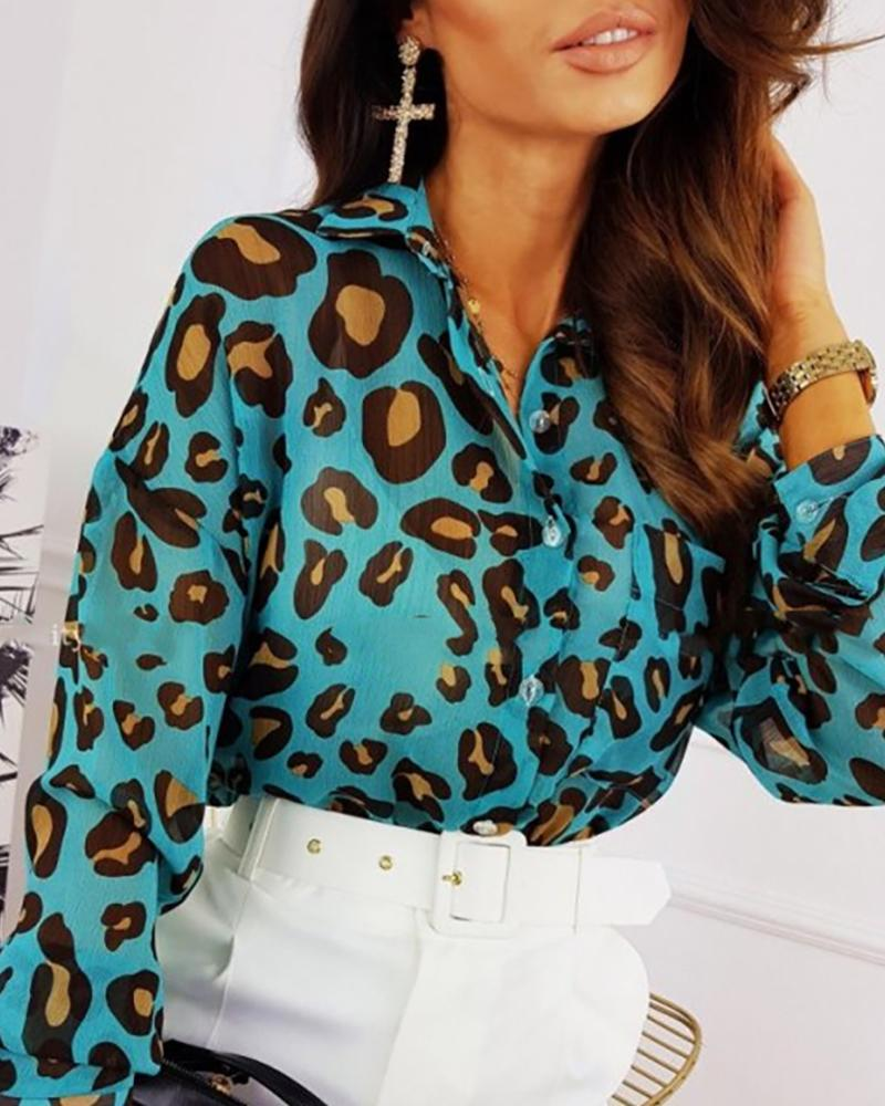 Cheetah Print Button Design Casual Shirt thumbnail