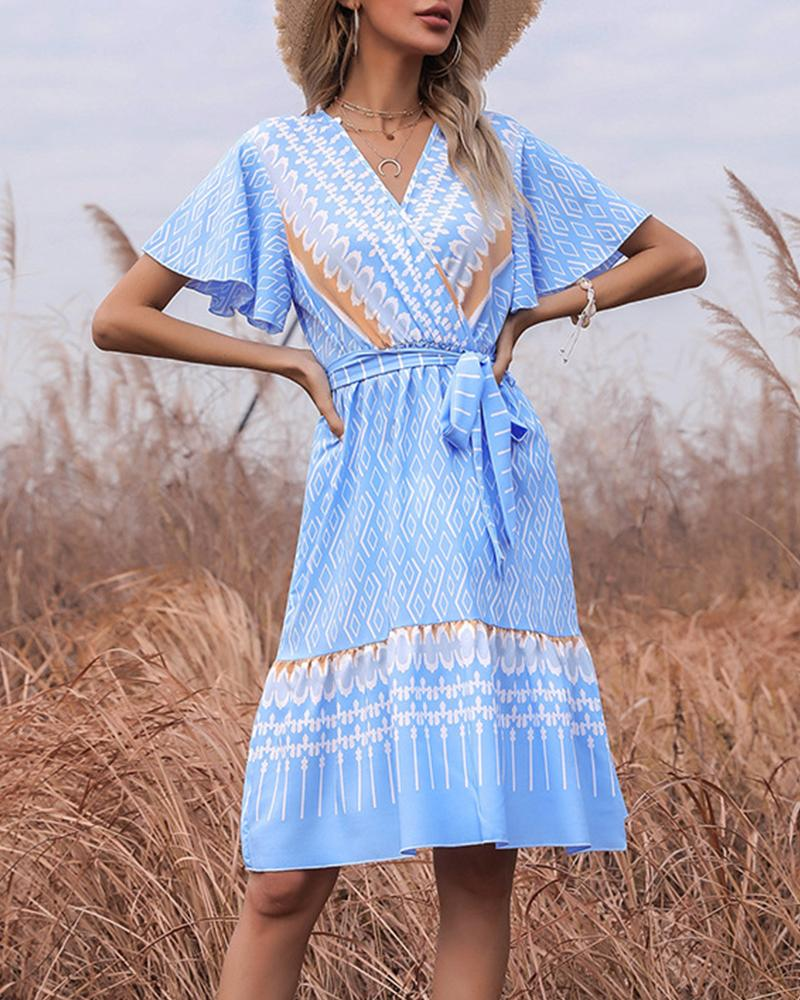 Retro Patterns Print Short Sleeve Lace-up Midi Dress