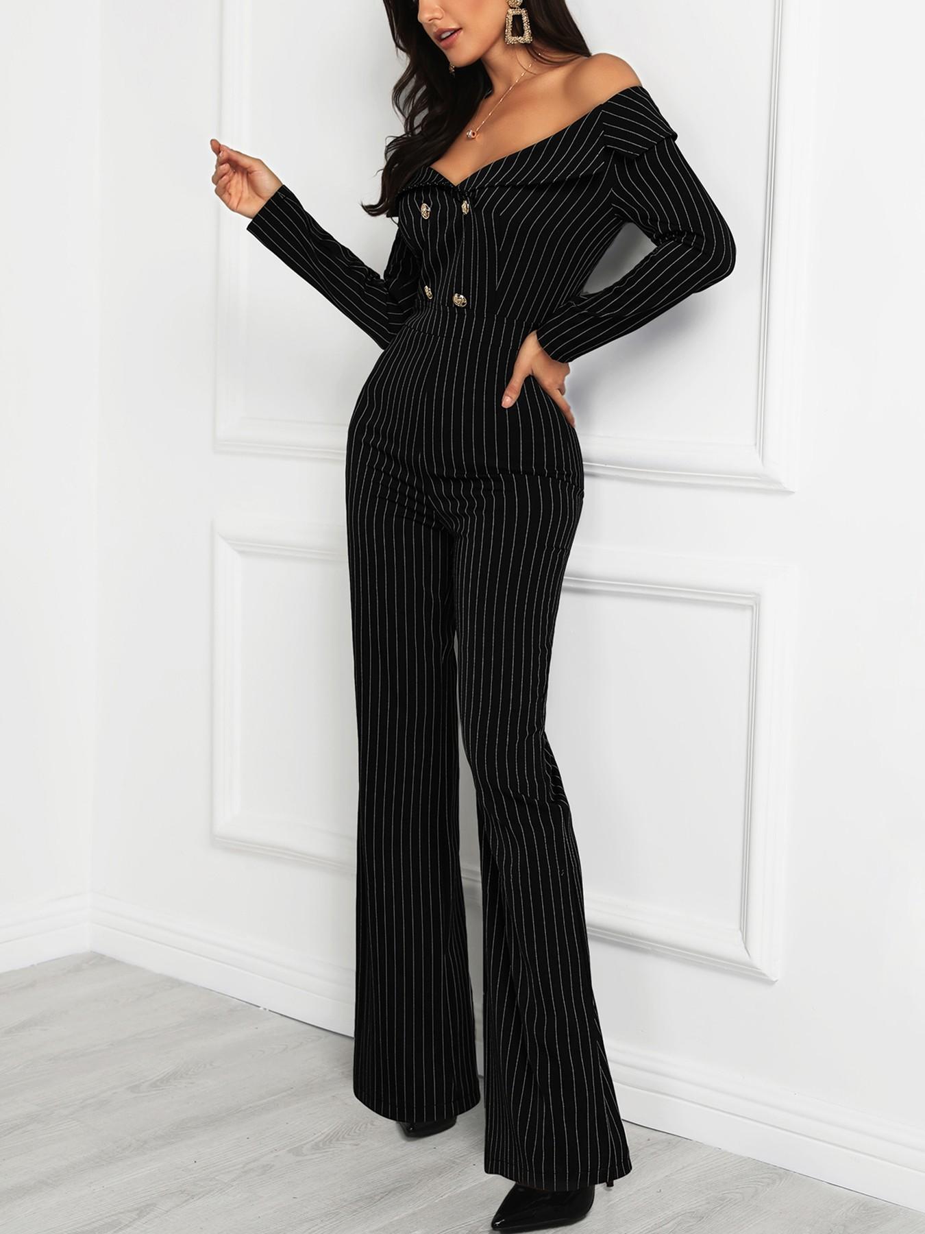 boutiquefeel / Stripes Double Breasted Off Shoulder Jumpsuit