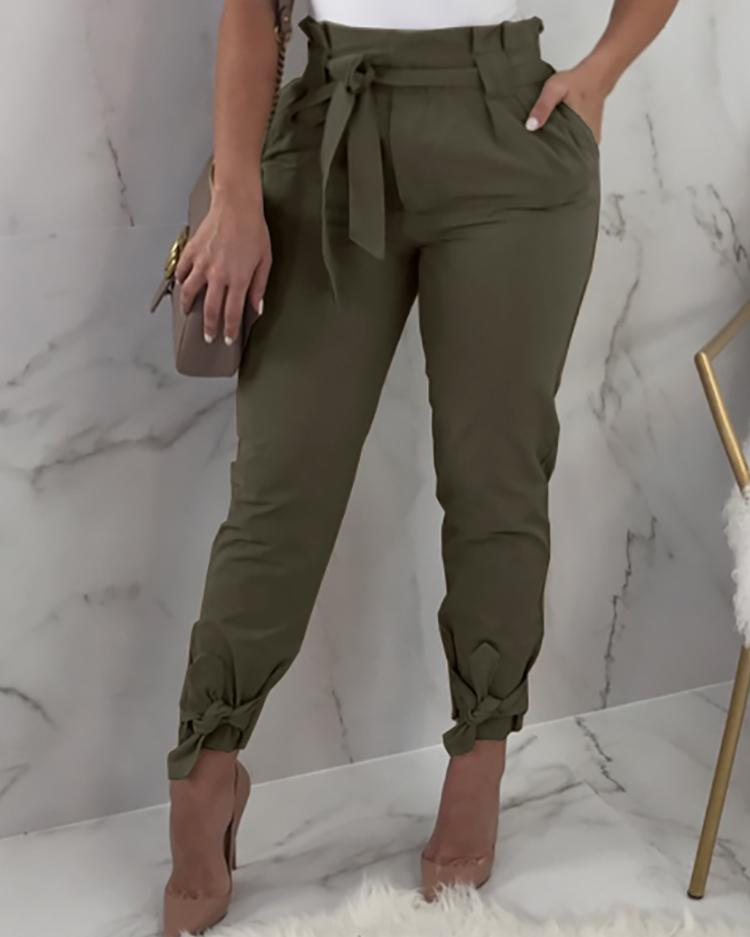 Frill Waist Belted Tied Ankle Pants thumbnail