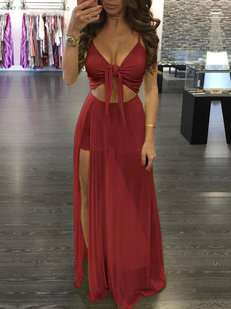 55f36d86f94e Sexy Twisted Cutout High Slit Maxi Romper Dress Online. Discover hottest  trend fashion at chicme.com