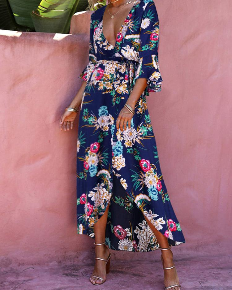 Joyshoetique coupon: High Slit Floral Print Maxi Dress