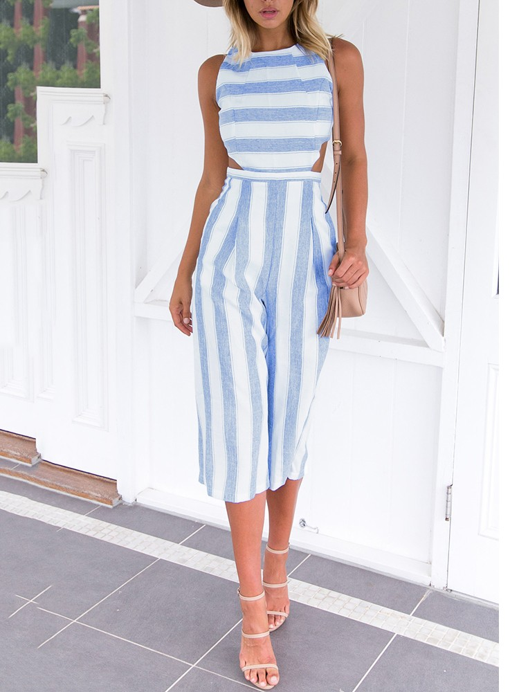 54dd76d3c809 Fashion Cut Out Striped Culotte Jumpsuit Online. Discover hottest trend  fashion at chicme.com