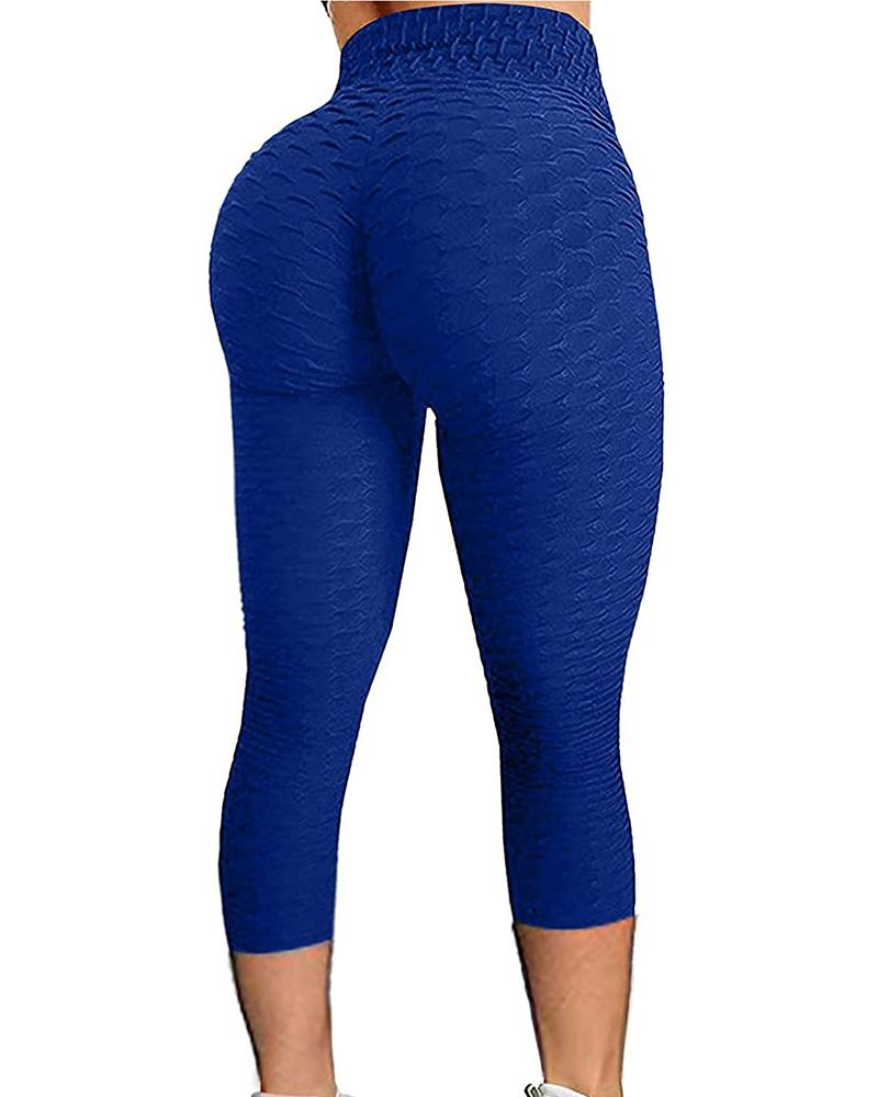 High Waisted Textured Tummy Control Butt Lifting Yoga Pants