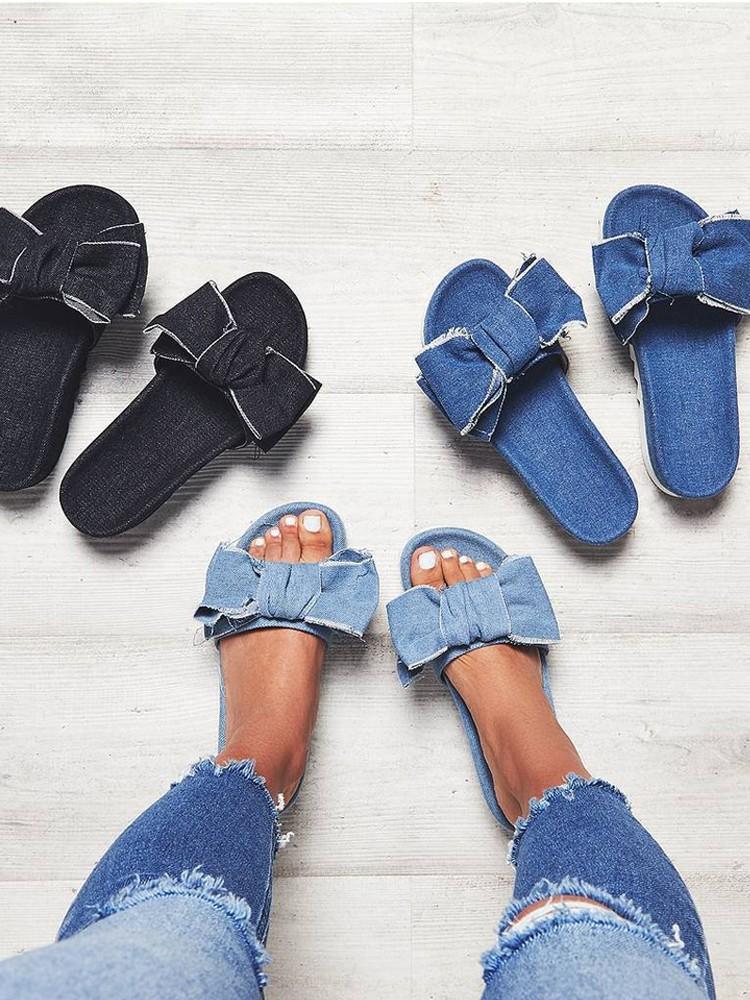 Stylish Denim Bow Tie Design Platform Sandals Online