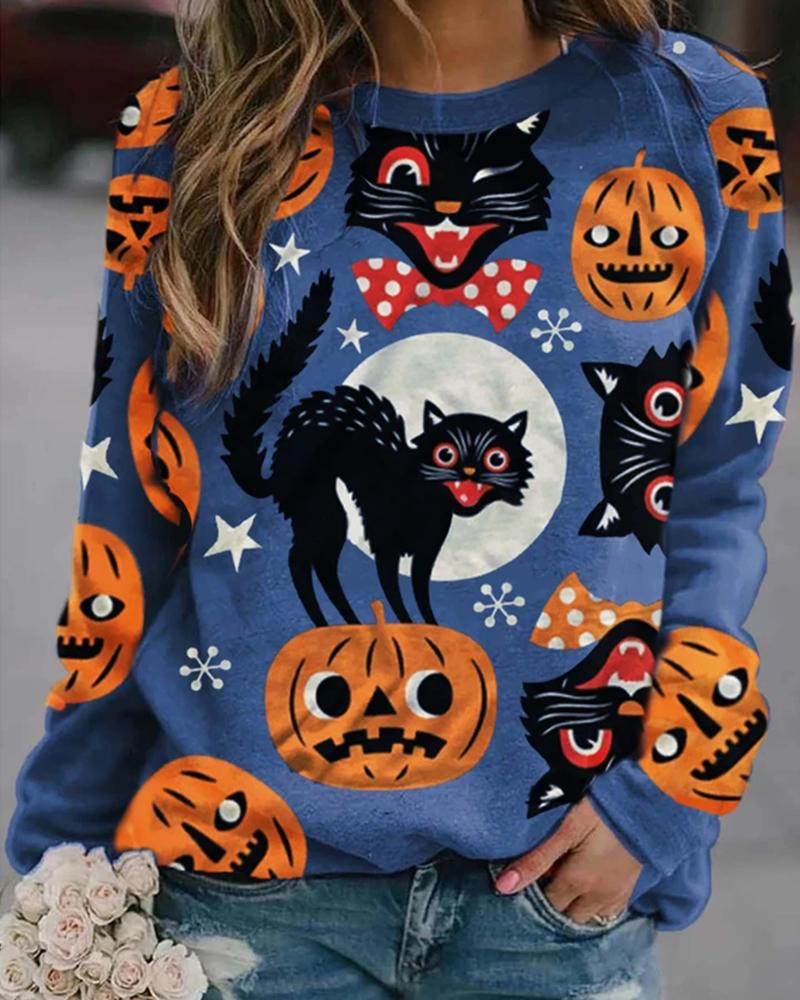 Halloween Cat Pumpkin Print Colorblock Sweatshirt thumbnail