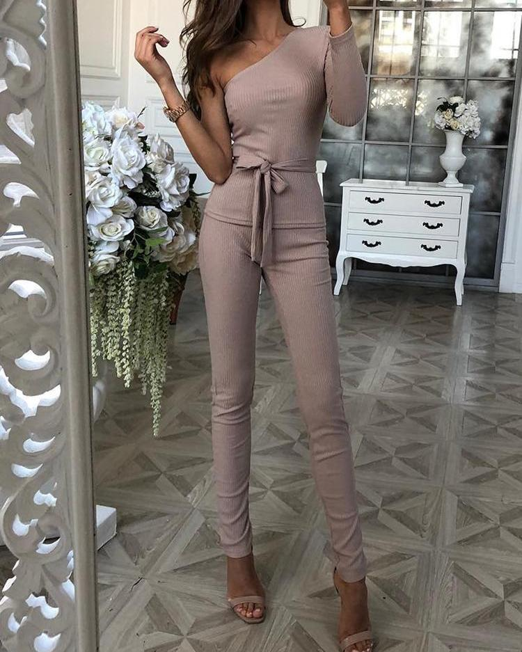 One Sleeve Tie Waist Top & Long Pants Sets