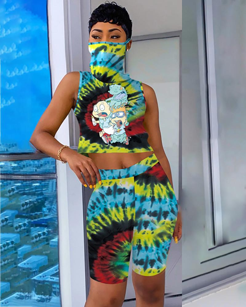 Cartoon Tie Dye Print Round Neck Top & Shorts Set thumbnail