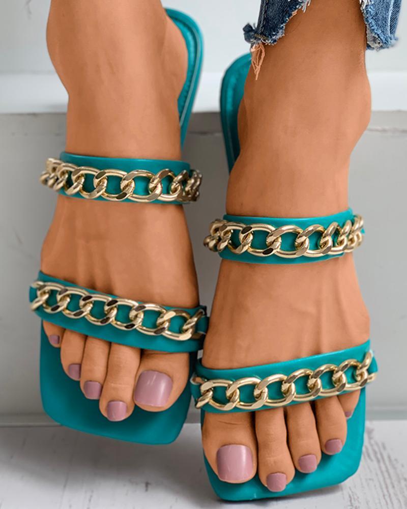 Chain Strap Square Toe Mule Sliders thumbnail