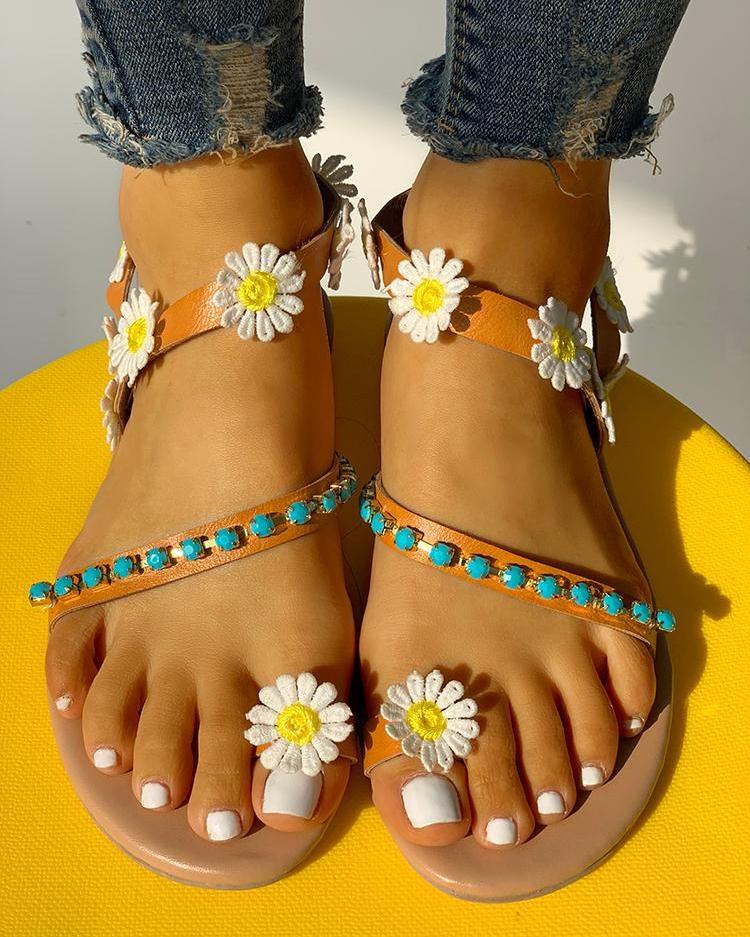 Flower Embellished Stud Detail Flat Sandals